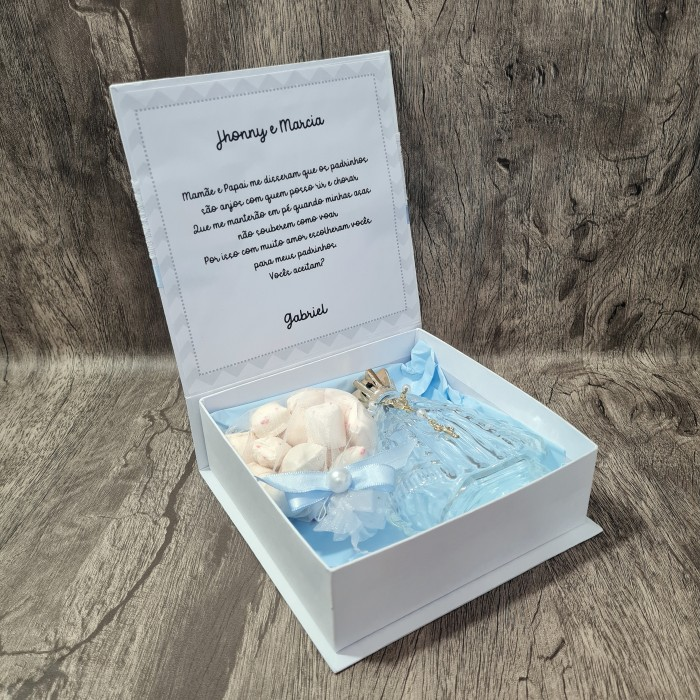Convite Caixa livro Padrinhos Batizado Personalizado  (Nossa Senhora + bala de coco)